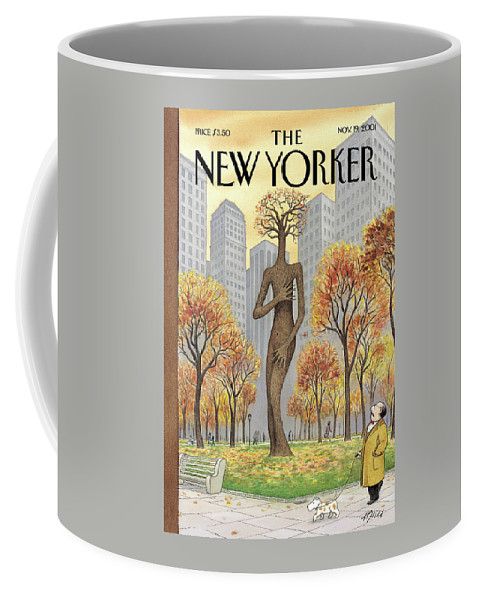 Exposed Central Park Fall Autumn Season Seasonal Nude Nudity Naked Embarrassed Shame Shamed Sex Tree Trees Arbor Female Ent Ents Harry Bliss Hbl Hbl Artkey 51232 Coffee Mug featuring the painting New Yorker November 19th, 2001 by Harry Bliss