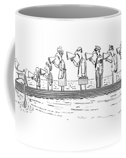 Man Rowing While His Family Coffee Mug featuring the drawing New Yorker October 10th, 1983 by Tom Cheney
