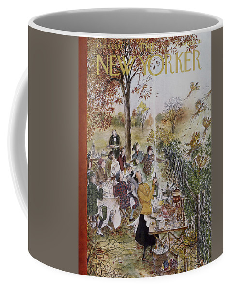 (a Hunting Group At A Picnic Is Interrupted When A Maid Bursts Open A Champagne Bottle That Frightens Away A Flock Of Pheasant.) Animals Wild Birds Dining Food Ham Cheese Fruit Drinking Alcohol Wine High Class Cuisine Leisure Games Hunting Relaxation Nature Enviornment Relationships Friends Men Women Mary Petty Mary Petty Mpe Artkey 47048 Coffee Mug featuring the painting New Yorker October 20th, 1962 by Mary Petty