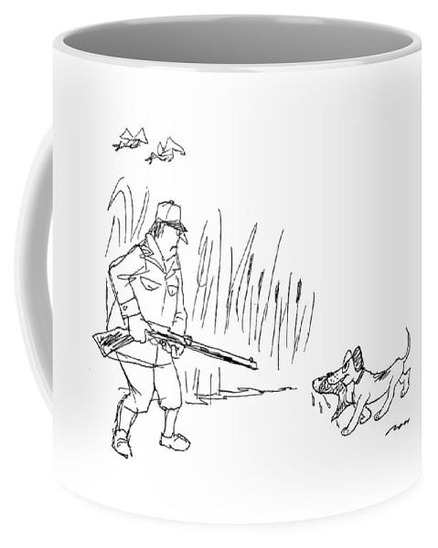 (a Hunting Returns With A Dead Fish For The Hunter.) Retriever Coffee Mug featuring the drawing New Yorker October 24th, 1994 by Al Ross