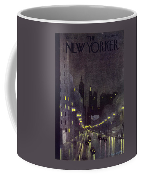 Illustration Coffee Mug featuring the painting New Yorker October 29 1932 by Arthur K Kronengold