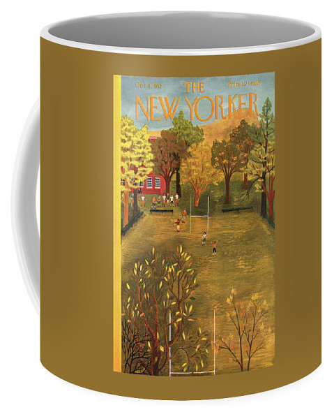 School Coffee Mug featuring the painting New Yorker October 4th, 1952 by Ilonka Karasz