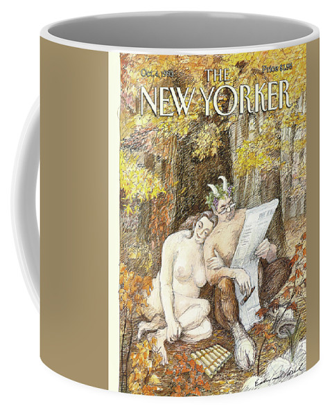 Remembrance Of Flings Past Artkey 50734 Eso Edward Sorel Coffee Mug featuring the painting New Yorker October 4th, 1993 by Edward Sorel