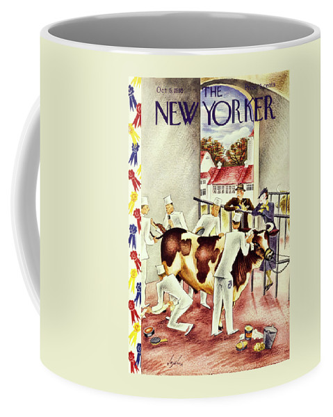 Animal Coffee Mug featuring the painting New Yorker October 5 1935 by Constantin Alajalov