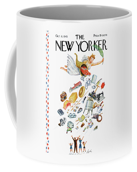 Cornucopia Appliance Appliances Angel Things Materials American Dream Consumers House Home Family Wants Wares Cornucopia Constantine Alajalov Cal Sumnerok Artkey 48936 Coffee Mug featuring the painting New Yorker October 6, 1945 by Constantin Alajalov