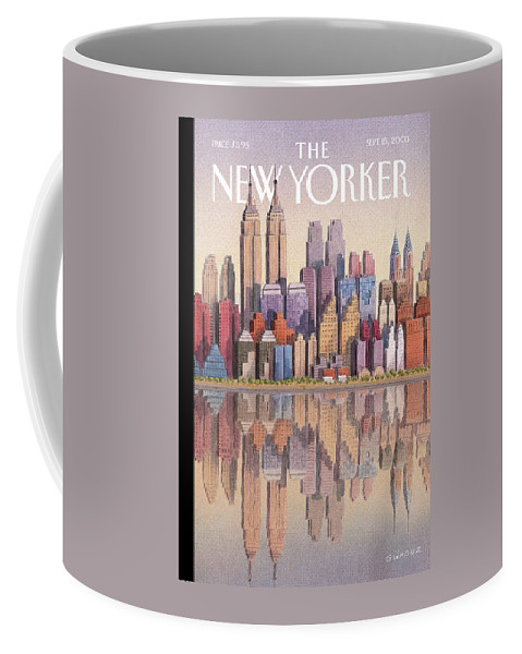 Twin Towers New York City Regional Empire State Building World Trade Center Twintowers Wtc Coffee Mug featuring the painting New Yorker September 15th, 2003 by Gurbuz Dogan Eksioglu