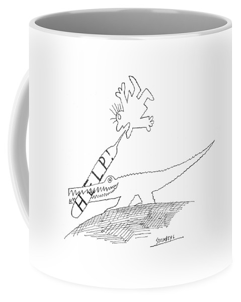 79448 Sst Saul Steinberg (alligator Has The Word Coffee Mug featuring the drawing New Yorker September 5th, 1970 by Saul Steinberg