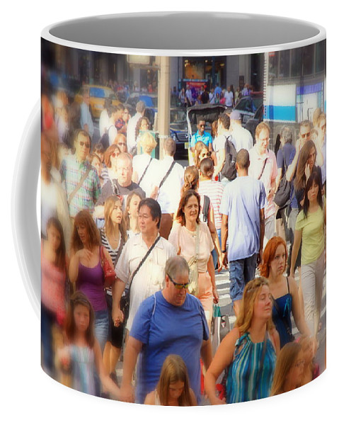 Streets Coffee Mug featuring the photograph New Yorkers by Valentino Visentini