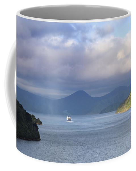 Ferry Coffee Mug featuring the photograph New Zealand Ferry by Alexey Stiop