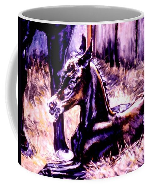 Newborn Foal Coffee Mug featuring the painting Newborn Foal by Stan Esson