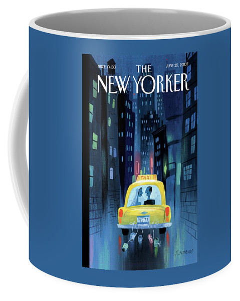 Taxi Coffee Mug featuring the painting Big City Romance by Lou Romano