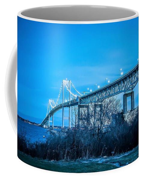 People Coffee Mug featuring the photograph Newport Bridge by Alex Grichenko