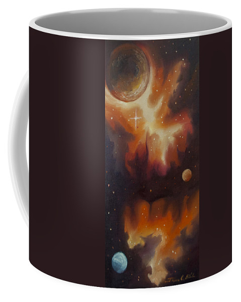 Purple; Red; Blue; Stunning; Landscape; James C. Hill; Copyright 2014 - James Christopher Hill; Jameshillgallery.com; Sci-fi; Science Fiction; Spheres; Power; Light; Ball; Motion; Concept Art; Concept Sketch; Nebula; Astronomy; Space; Gas; Planet; Star Coffee Mug featuring the painting Ngc - 1015 by James Christopher Hill
