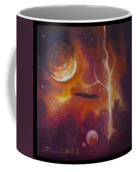 Purple; Red; Blue; Stunning; Landscape; James C. Hill; Copyright 2014 - James Christopher Hill; Jameshillgallery.com; Sci-fi; Science Fiction; Spheres; Power; Light; Ball; Motion; Concept Art; Concept Sketch; Nebula; Astronomy; Space; Gas; Planet; Star Coffee Mug featuring the painting Ngc - 1017 by James Christopher Hill