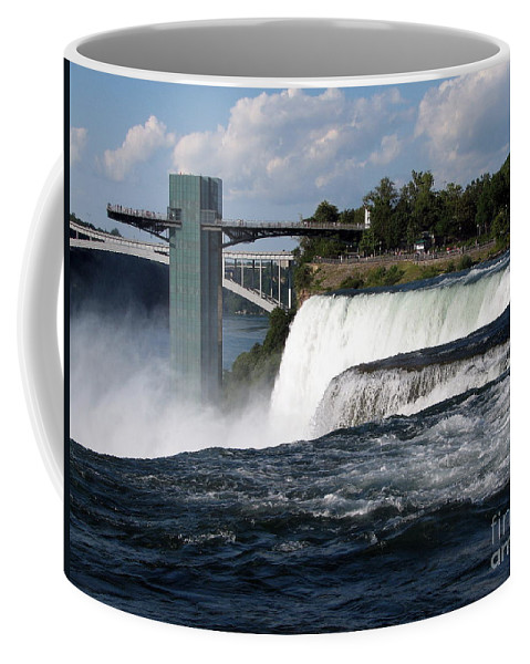 Niagara Falls State Park Coffee Mug featuring the photograph Niagara Falls Closeup And Observation Tower by Rose Santuci-Sofranko
