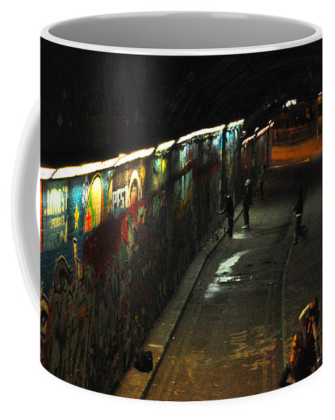 Night Coffee Mug featuring the digital art Night Activity by Gina Dsgn