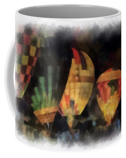 Hot Coffee Mug featuring the photograph Night Glowing Hot Air Balloons Photo Art by Thomas Woolworth