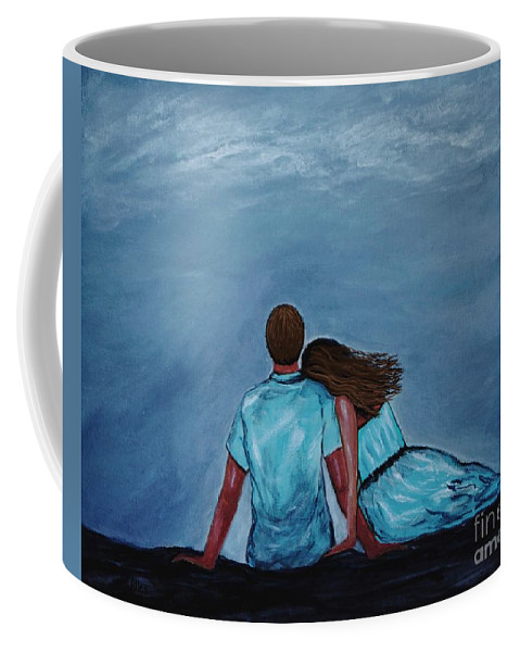 Couple Coffee Mug featuring the painting Night Love by Leslie Allen