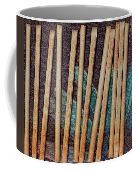 Bread-stick Coffee Mug featuring the mixed media Night On The Bread Stick Planet by Pepita Selles
