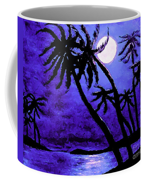 Night On The Islands Painterly Brushstrokes Coffee Mug featuring the photograph Night On The Islands Painterly Brushstrokes by Barbara Griffin