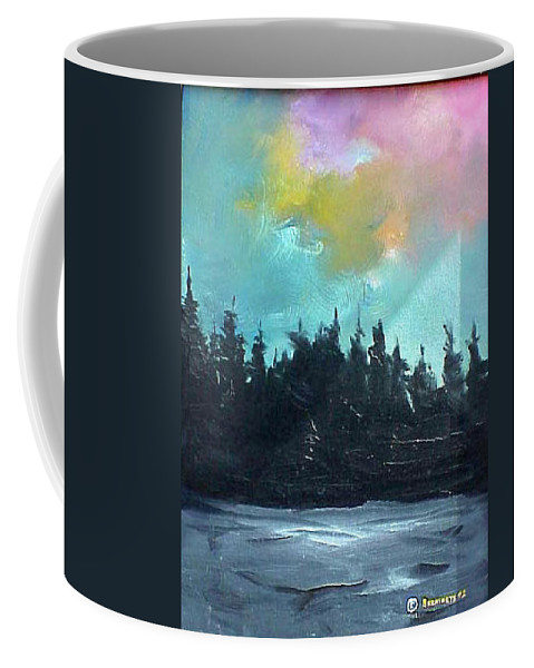 Landscape Coffee Mug featuring the painting Night River by Sergey Bezhinets