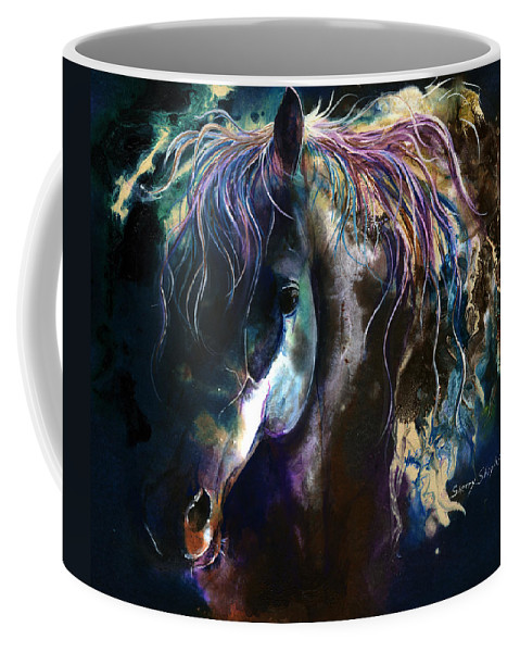 Horse Coffee Mug featuring the painting Night Stallion by Sherry Shipley