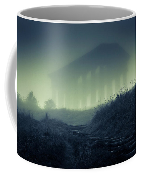 Misty Coffee Mug featuring the photograph Penshaw Monument At Night by David Mckenna