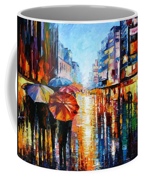 Oil Paintings Coffee Mug featuring the painting Night Umbrellas - Palette Knife Oil Painting On Canvas By Leonid Afremov by Leonid Afremov