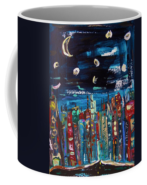 Moon Coffee Mug featuring the painting Night Vision by Mary Carol Williams