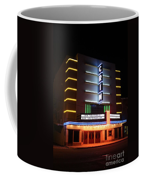 Crim Theater Coffee Mug featuring the photograph Nightime Shot Of Kilgore Crim Theater by Kathy White