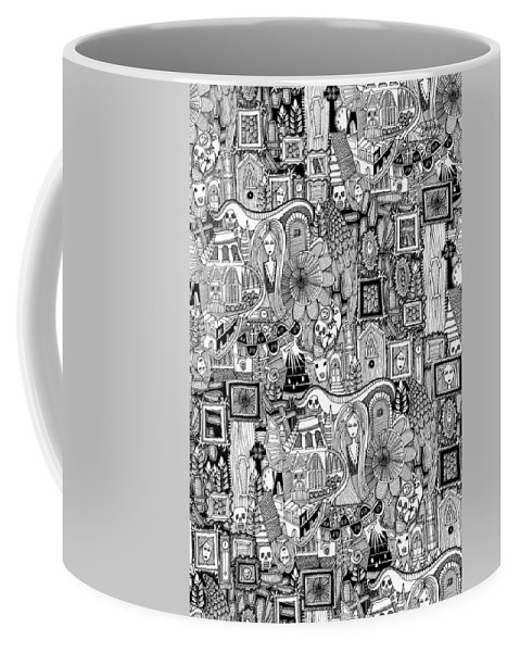 Ghost Coffee Mug featuring the drawing Nightmares by MGL Meiklejohn Graphics Licensing