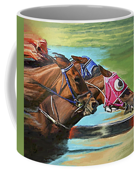 Horses Coffee Mug featuring the painting Nikita By A Head by David Wagner