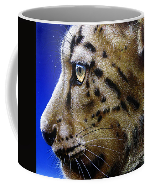 Snow Leopard Coffee Mug featuring the painting Nina The Snow Leopard by Jurek Zamoyski