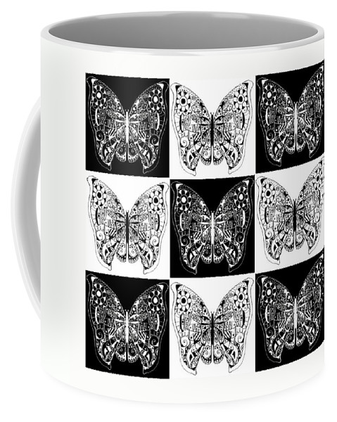 Butterflies Coffee Mug featuring the digital art Nine Lives - Black And White by Helena Tiainen