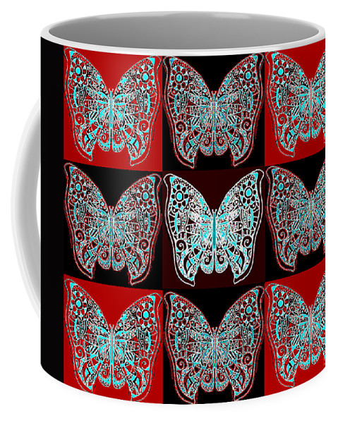 Butterfly Coffee Mug featuring the digital art Nine Lives - Variation 1 by Helena Tiainen