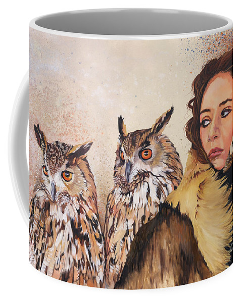 Owls Coffee Mug featuring the painting Nine Stars Woman / Wise Counsel by J W Baker