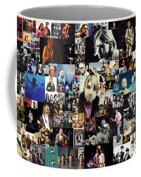 Nirvana Coffee Mug featuring the digital art Nirvana Collage by Zapista Zapista
