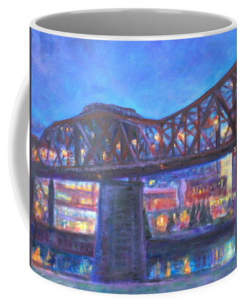 Sky Coffee Mug featuring the painting City At Night Downtown Evening Scene Original Contemporary Painting For Sale by Quin Sweetman