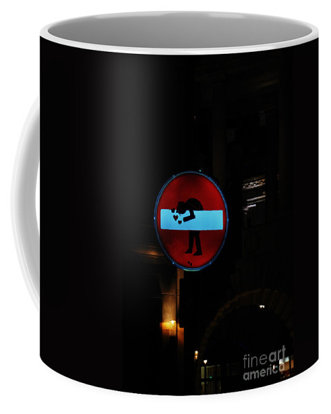 No Entry Love Sign London Street Art Graffiti Coffee Mug featuring the photograph No-entry Sign Love by Richard Gibb