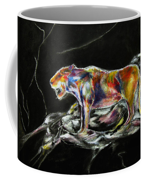 Animals Coffee Mug featuring the painting No Fear by Tom Conway
