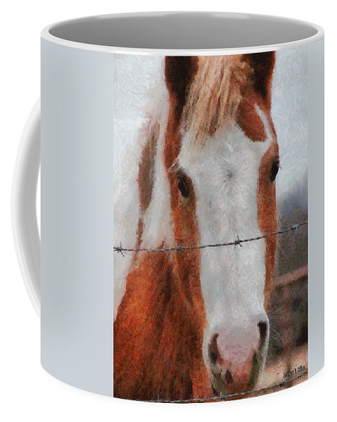Barbed Wire Coffee Mug featuring the painting No Fences by Jeffrey Kolker