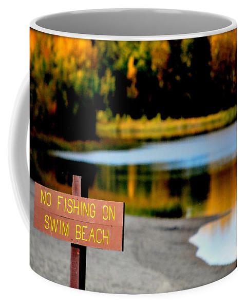 Lake Coffee Mug featuring the photograph No Fishing I by Kathy Sampson