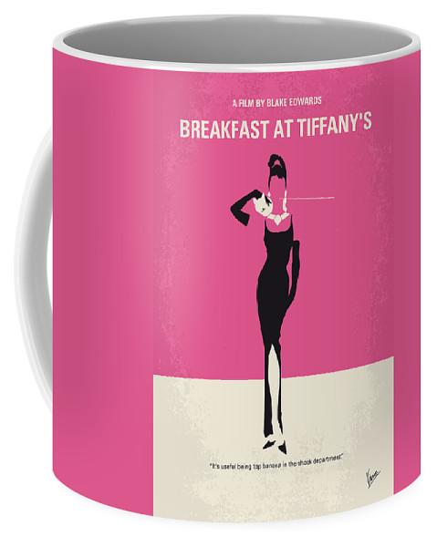 Breakfast Coffee Mug featuring the digital art No204 My Breakfast at Tiffanys minimal movie poster by Chungkong Art