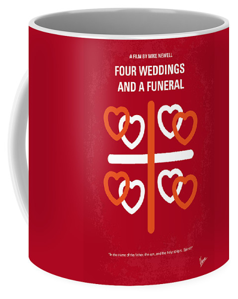 Four Coffee Mug featuring the digital art No259 My Four Weddings And A Funeral Minimal Movie Poster by Chungkong Art
