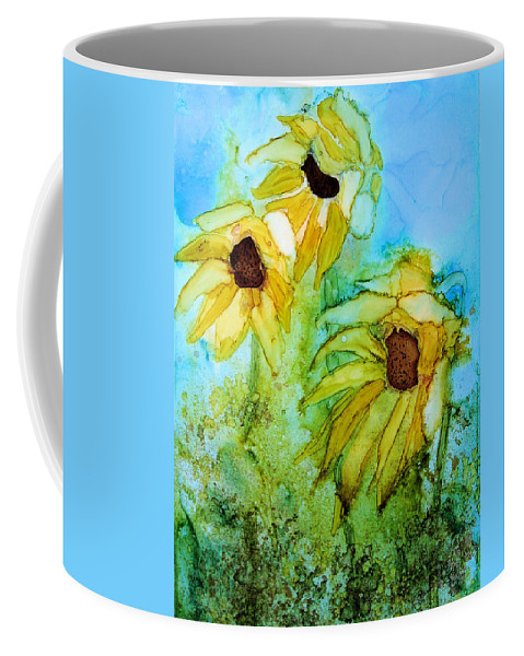 Flower Coffee Mug featuring the painting Nodding Off by Diane Marcotte