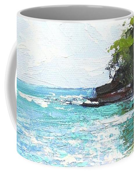 Seascape Coffee Mug featuring the painting Noosa Heads Main Beach Queensland Australia by Chris Hobel