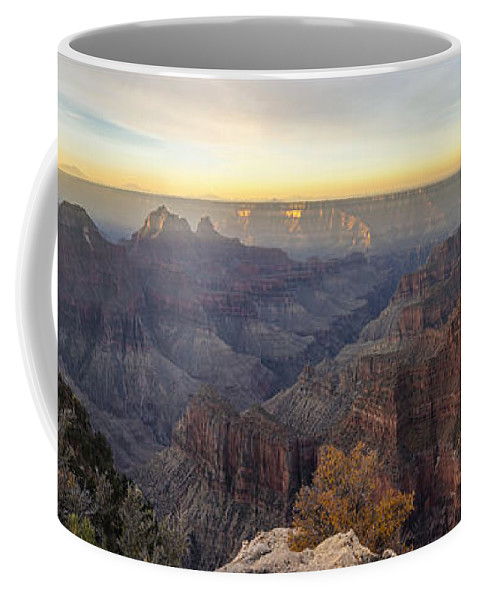 North Rim Sunrise Grand Canyon National Park Arizona Az Coffee Mug featuring the photograph North Rim Sunrise Panorama 2 - Grand Canyon National Park - Arizona by Brian Harig