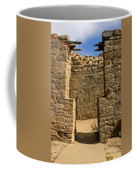 Aztec Ruins Coffee Mug featuring the photograph Notched Doorway by Joe Kozlowski