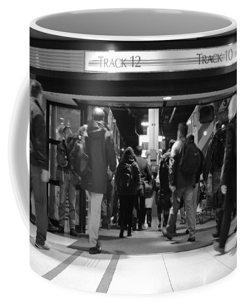 Union Station Coffee Mug featuring the photograph Now Boarding Track 12 And 10 For Home Bw by Thomas Woolworth