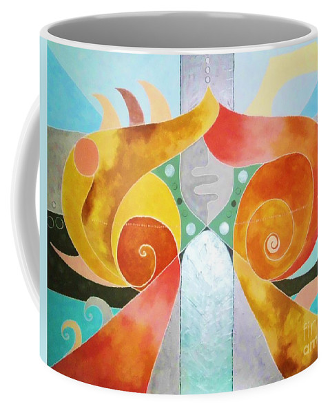 Abstract Painting Coffee Mug featuring the painting Nr. 36 by Annabella Rharbaoui